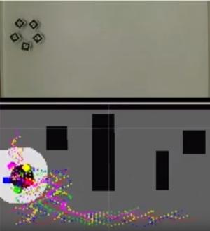 Os minirrobôs e-puck identificam possíveis obstáculos (blocos pretos). [Imagem: Luciano Pimenta]