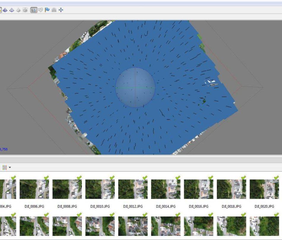 Distribuição das imagens mostradas no Agisoft Photoscan, software de processamento de imagens