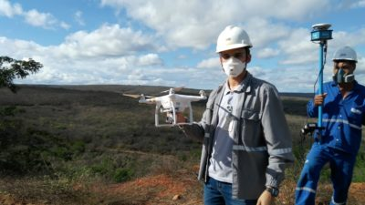 Drone em levantamento planialtimétrico
