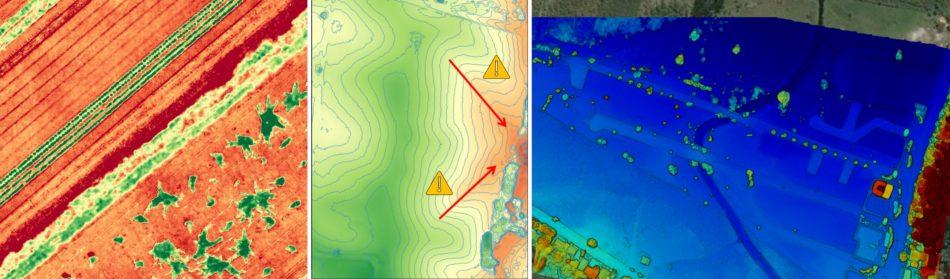 Exemplos de produtos elaborados: Imagem NDVI elaborada com câmera infravermelho, Análise de processos erosivos e deslizamento, Modelos Digitais para Análise Ambiental