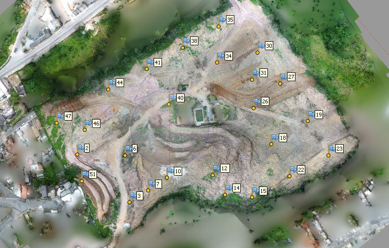 Implantação de 25 pontos de apoio em solo