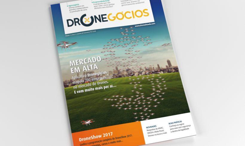 Revista Dronegócios traz na capa os números do mercado de Drones. Confira!