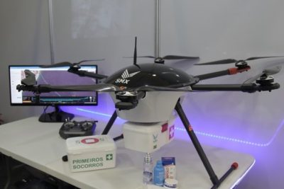 Delivery drone em exposição no DroneShow 2018