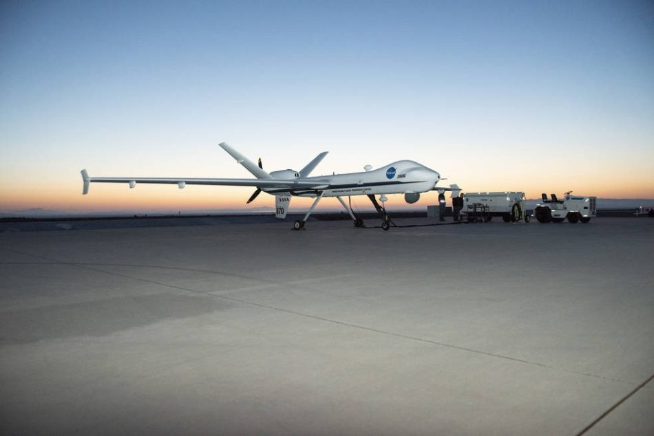 Aircraft maintenance crews at NASA's Armstrong Flight Research Center prepare the remotely-piloted Ikhana aircraft for a test flight. The test flight was performed to validate key technologies and operations necessary for FAA's approval to fly the aircraft in the National Airspace System June 12, 2018, without a safety chase aircraft.