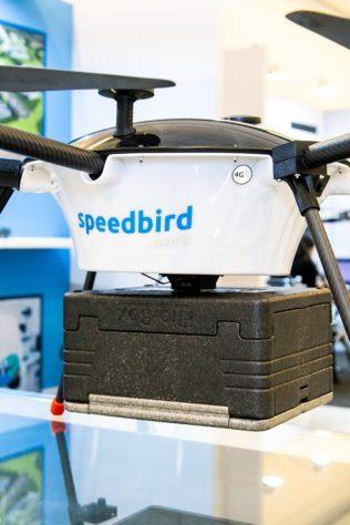 estande da sppedbird aero no droneshow 2019 - detalhe