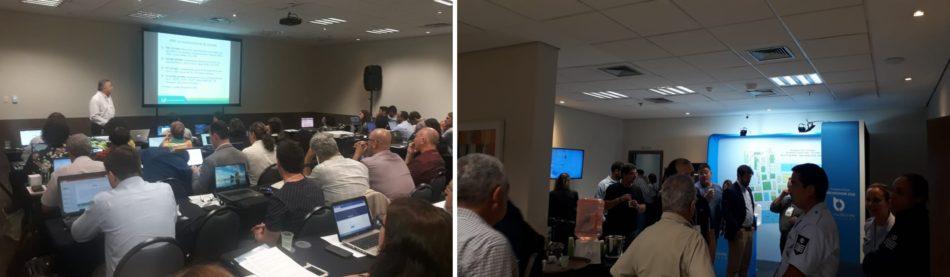 Evento de treinamento do INPE e corredores da Mostra de Tecnologia do DroneShow e MundoGEO Connect PLUS