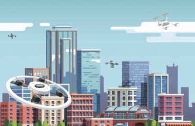 Ilustração retrata vários drones voando em um ambiente urbano, que será o cenário para o teste da NASA