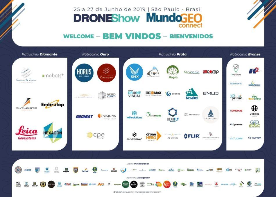 Painel de boas vindas do DroneShow e MundoGEO Connect 2019