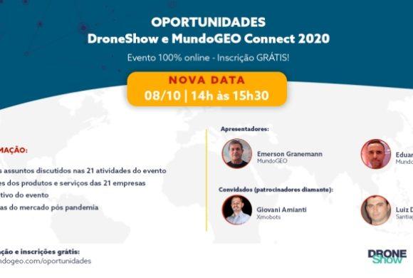 Webinar 8 de Outubro: oportunidades e destaques do MundoGEO Connect e DroneShow 2020