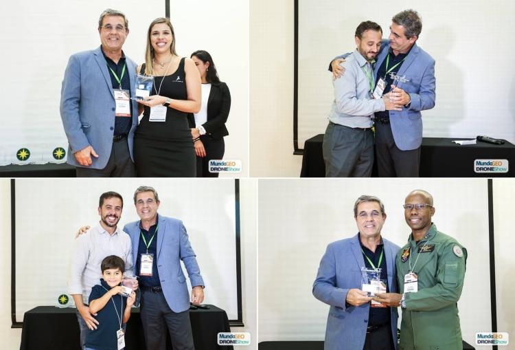 Alguns dos premiados no DroneShow 2018. No sentido horário: Raquel Molina (Futuriste), Giovani Amianti (Xmobots), Bruno Holtz (3DGeo) e Major Herlon (PMBA)