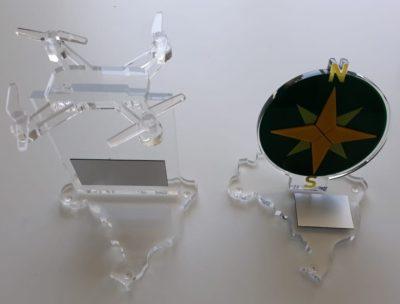 Troféus dos prêmios DroneShow e MundoGEO 2018